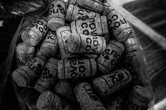 2018 - Photo 171 of 365 - it's bottling time (old_hippy1948) Tags: corks monochrome
