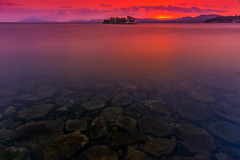 sunset 8763 (junjiaoyama) Tags: japan sunset sky light cloud weather landscape red contrast color bright lake island water nature summer reflection calm rock dusk serene underwater