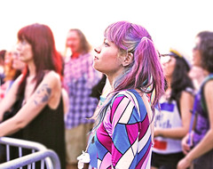 Austin Music and Unicorns (kirstiecat) Tags: woman female concert crowd fest festival people strangers beautifulstrangers canon street texas austin levitationfest austinpsychfest audience pinkhair