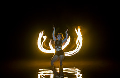 The Fire Enchantress (TheGhostVaporVision) Tags: model fire firepainting night water glow reflection concept artist performer light lightpainting painting sexy girl art noedit