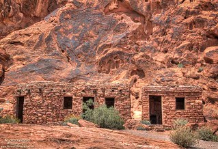 The Cabins with a varnished sandstone backdrop, Valley of Fire State Park