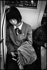 Chuo Line, JR, Tōkyō (GioMagPhotographer) Tags: tōkyōto eastofthesun metrotrain girl leicamonochrom japanproject japan metro subway tokyo tkyto underground