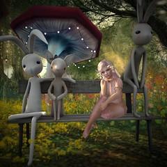 New Friends (MoonieTM) Tags: bunny moonie moon pink moonietm bench summer mystic