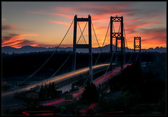 Early Fireworks (Ernie Misner) Tags: f8andpleaseexplodesunset erniemisner sunset narrowsbridge tacomawa tacoma washington bridge longexposure lightroom nik topazstudio capturenx2 cnx2 polarizer