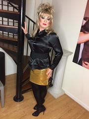 Black gold (Sissy kaylah) Tags: transvestite tranny trap trans black blonde satin satinblouse wolford deluxesatin blacktights heavymakeup crossdresser crossdressing crossdress