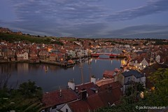 Whitby at night. (jack cousin) Tags: northsea uk whitby yorkshire coast harbor harbour holiday nature outdoor popular port resort sea seascape seashore shore tourism touristattraction town travel vacation water night dark lights bridge sky darksky roofs nikond610 on1photos