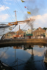 In the Basin (gooey_lewy) Tags: ajax was built by robert stephenson hawthorns ltd delivered new chatham dockyard 040st tram route royal navy steam loco locomotive train goods wagons summer evening photo shoot charter hms gannet smoke crew reflection water dry dock bow ship iron clad
