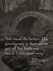 """Quotation:  """"We must do better. The good news is that we've got all the tools we need. Let's start now."""" (Ken Whytock) Tags: better news goodnews tools start quotation"""