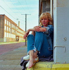 Lindsey Street Portrait in Denim 1 (neohypofilms) Tags: series portrait street urban city industrial style fashion blonde hair shoes clogs denim jeans bleu blue color medium format 120 film hasselblad cleveland photography yellow retro vintage analog gritty raw cute sexy brick road streets