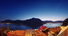 Blue hour over Lago di Lugano (PeterThoeny) Tags: lake lugano melide switzerland campione campioneditalia italy casino bluehour night outdoor clear sky lagodilungano landscape seascape sony a7 a7ii a7mii alpha7mii ilce7m2 fullframe rokinon12mmf28 fisheye fisheyelens wideangle 1xp raw photomatix hdr qualityhdr qualityhdrphotography mountain fav100