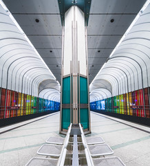 Rainbow underground (fjodor.yauschew) Tags: balance blue nikon futuristic modern underground symetry 500px station red column lights derfrühevogelmachtdasbild munich granite architecture bavaria notheretocatchatrain ubahn lighttunnel colorful rainbow railway subway dülferstrase green metro yellow