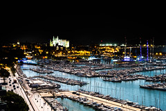 Night & Day (martinpmayer) Tags: tagundnacht night boote church water day boats sea lights sun summer cathedral spain blue palma dark mallorca meer ships schiffe lichter kathedrale sommer blau flickrheroes explore