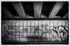 AR's bench - AR's Bank (ralfkai41) Tags: streetphotography street blackwhite hamburg schwarzweis art monochrom bench unterführung fusgängerunterführung bw streetart sw subway pedastriansubway bank