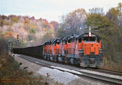 BLE 854 s, N.Butler, PA. 10-29-1990 (jackdk) Tags: train railroad railway locomotive emd emdlocomotive endsd18 sd18 sd9 emdsd9 bessemer bessemerandlakeerie ble coal coaltrain ore oretrain coaldrag