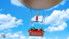 In the air (The Aphol) Tags: lego balloon legography legophotography pregnancy pregnant toy toyphotographers toyphotography hotairballoon fly flight sky air journey bird afol minifigures minifigs moc