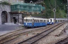 MOB 1001  Montreux  12.09.83 (w. + h. brutzer) Tags: montreux eisenbahn eisenbahnen train trains schweiz switzerland railway triebwagen triebzug triebzüge mob webru analog nikon