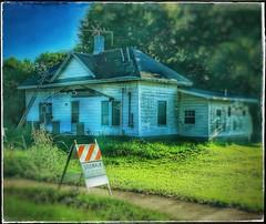 """""""Slip slidin' away...."""" (Sherrianne100) Tags: sign sidewalk slipslidin'away dilapidated ladder oldhouse smalltown ozarks missouri"""