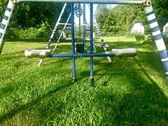 Old Seesaw Swing (neukomment) Tags: flickrfriday twins seesawswing swingset lawn backyard green blue play grass