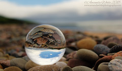 Beach Ball (sminky_pinky100 (In and Out)) Tags: inverness capebreton novascotia beach landscape scenic travel tourism outdoors omot cans2s lensball lensballphotography pebbles coastal galss ball crystalball refraction upsidedown