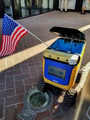 The future of patriotism (quinn.anya) Tags: patriotic flag berkeley robot kiwi delivery