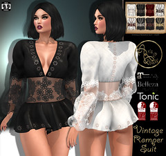 https://marketplace.secondlife.com/p/99L-60Off-PromotionArisArisBWVintage-Romper-SuitHud-8-Tex/14945502 (ArisArisB&W - Ariadna Garrigus & Ayrton Radikal) Tags: romper body suit mesh satin vintage retro gold embroidery lace promotion promo bow maitreya slink hourglass 50s 60s sexy pant top jumpsuit rompersuit tonic pinup