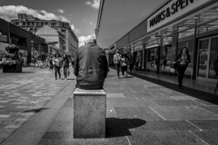 The Observer (Leanne Boulton) Tags: people monochrome urban street candid streetphotography candidstreetphotography streetlife sociallandscape old elderly aged man male sitting back leadinlines lines perspective vanishingpoint wideangle composition tone texture detail depth naturallight outdoor light shade shadow city scene human life living humanity society culture lifestyle canon canon5d 5dmkiii 24mm ef2470mmf28liiusm black white blackwhite bw mono blackandwhite glasgow scotland uk