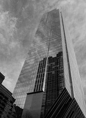 Monolith II ({Brinkervelt}) Tags: chicago bw blackwhite urban city sky clouds reflection glass perspective blackandwhite geometric cmwdblackandwhite noiretblanc