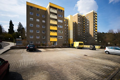 group of yellow boxes get service (Marc R. A.) Tags: yellow architecture concrete building buildings candid kodakgold