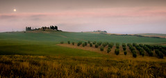 Luna a Val d'Orcia (Beppe Rijs) Tags: 2018 italien juli sommer toskana italy july summer tuscany moon moonscape mond dawn sunrise sonnenaufgang morning morgen belvedere valdorcia hill hügel grass gras silhouette red rot gree grün cloud wolke haus house himmel landschaft landscape feld baum