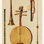 Saimisen, Kokiu and Biwa (1888) by William Gibb (1839-1929), a chromolithograph of a traditional musical instruments. Digitally enhanced from our own original plate. thumbnail