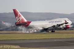 G-VROY Boeing 747-400 Virgin Atlantic Glasgow airport EGPF 01.07-18 (rjonsen) Tags: plane airplane aircraft aviation airliner jumbojet queen skies touchdown landing tyre smoke smoking pretty woman