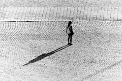 In the middle of somewhere (Ladistorta) Tags: middle alone people square rome bn bw blackandwhite biancoenero street persone strada