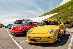 Porsche 993 Carrera RS (Nico K. Photography) Tags: porsche 993 carrera rs combo classic supercars rare yellow red nicokphotography switzerland snow mountains klausenpass
