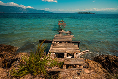Summer seas......... (Dafydd Penguin) Tags: summer seas blue waters azzur clear sea water coast coastal jetty quay pontoon dock island greece corfu ancient abandonned leica m10 elmarit 21mm f28 ionian mediterranean