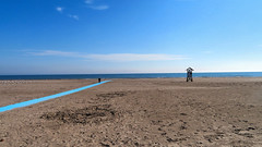 Beach, Cobourg, Ontario, Canada (duaneschermerhorn) Tags: cobourg smalltown beach sand lifeguard lifeguardstation lake water blue sky clouds horizon white