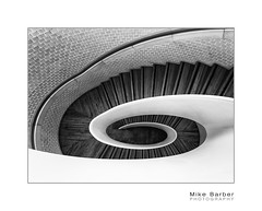 Swirly Wurly (mcb photography) Tags: bw blackandwhite monochrome mikebarber mcbphotography wwwmcbphotographycouk steps stairs stairwell swirl helix spiral