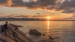 Sunset - DSC_0559 (John Hickey - fotosbyjohnh) Tags: 2018 august2018 sandycove sunset dublin ireland irishsea seascape sea seashore fortyfoot coast sunlight people rocks sky