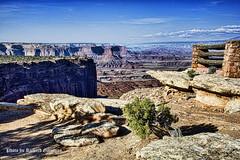_DSC4686 (garofano_richard) Tags: stonewall dirt rocks cliffs desertvegetation logs rockandlogfence utah canyonlandnp clouds biologicalsoil viewofcanyon nearmoabutah redrockformation