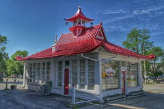 Pagoda Service Station (Ken Mattison) Tags: buildings architecture pagodagasstation old city outdoor hdr color colours red cedarburgwisconsin wisconsin usa panasonic fz1000 wadhams