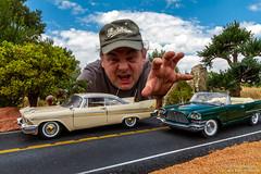 MOPAR Monster (Ken Hendricks and Larry Patchett) Tags: franklinmint 1957 chrysler 300c danburymint 1958 plymouth fury 124scale diecast model cars trees rocks