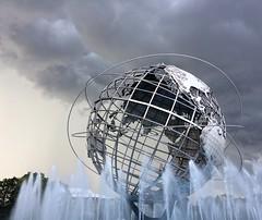 Storm Clouds over the Unisphere (Viridia) Tags: flushingmeadowscoronapark unisphere queens park sculpture metal clouds fountain newyorkcity flushingmeadowspark water fmcp stormclouds gray silver