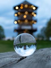 Inverse lighting (samytux) Tags: pagoda baltimore maryland crystal ball reflection wood picnictable sky light bokeh round usa pattersonpark pattersonparkpagoda parklife sonyilce6500 epz18105mmf4goss sony alpha sonya6500 sel18105g