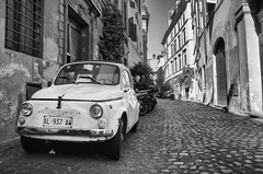 Parked cars in Rome BW (gavin.mccrory) Tags: green bw black monochrome summer shadow nikon d5100 dslr 35mm