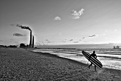 Save the world (Roi.C) Tags: sky surfer sun clouds cloud sea waves wave water beach sand surfing people running man season seascape landscape outdoor silhouette reflection nikkor nikond5300 nikon black white blackwhite blackandwhite bw monochrome mediterraneansea 2018 sunset israel ngc light