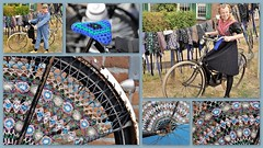 On the bike in Staphorst (wilma HW61) Tags: fiets bike bicycle ciclismo fahrrad vélo klederdracht kostuum traditionalcostume handwerk manualwork collage photoborder wiel wheel persone persoon people historisch historic historical historique cultuurhistorisch cultuur erfgoed heritage staphorst overijssel nederland niederlande netherlands nikond90 holland holanda paísesbajos paesibassi paysbas europa europe été zomer summer sommer outdoor wilmahw61 wilmawesterhoud jasbeschermers dressprotectors wow haakwerk crocheted