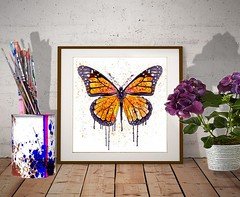 Monarch butterfly (marianv2014) Tags: monarchbutterfly butterfly butterflies insect insects splashes splatters orange watercolour watercolor aquarelle wallart walldecor fineart butterflydecor butterflywall butterflyart insectart squareformat butterflyposter monarchposter wings drippingpaint plum purple fortheroom artgifts affordableart insectposter moderndecor contemporaryart creatures illustration artwork art beautiful whitebackground contemporary decor charming