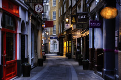Every Empty Evening (Dimmilan) Tags: uk england london city urban architecture building street shops nightlight night evening