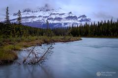 Mount Sarbach (Dan Sherman) Tags: banffnationalpark canadianrockies water snow river rockymountains alberta mountains mtsarbach forest trees saskatchewanriver banff rockies