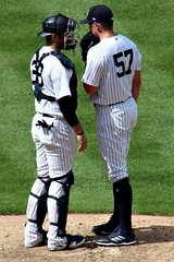 MEETING ON THE MOUND (MIKECNY) Tags: catcher pitcher meetingonthemound pinstripes yankees newyork mound strategy discussion chadgreen austinromine