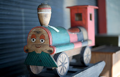 Choo Choo (Anthony Mark Images) Tags: seattleantiquesmarket waterfront seattle washington antiques washingtonstate usa woodentoys childrenstoys train trainengine traintracks toys antiquetoys cuteface cute adorable choochoo sundaylights nikon d850 50mmlens sweet cutie